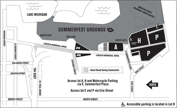 Map of Summerfest parking