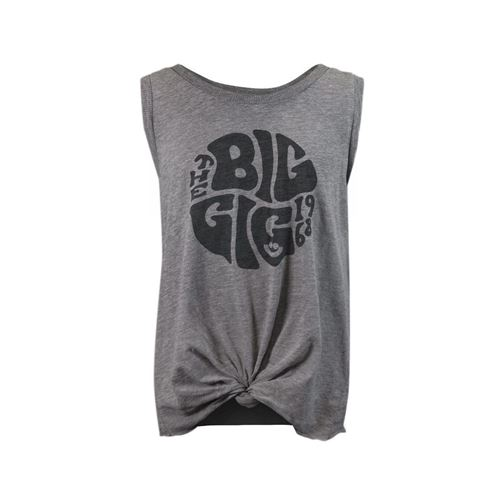 Picture of Grey Heather Tie Front Tank